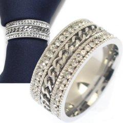 名入れ刻印サービス対象/ネクタイリング・チェーンデザイン×ラインストーン・ダブルラインのタイリング (スカーフリング)