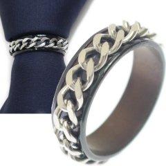 名入れ刻印サービス対象/ネクタイリング・ガンメタリック×チェーンデザインのタイリング (スカーフリング)