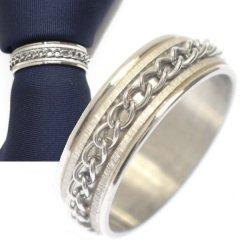 名入れ刻印サービス対象/ネクタイリング・シルバー・センターチェーンデザインのタイリング (スカーフリング)