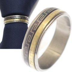 名入れ刻印サービス対象/ネクタイリング・マンジ柄・ゴールド×ブラック・ダブルラインのタイリング (スカーフリング)