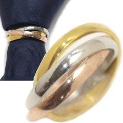 ネクタイリング・シルバー×ゴールド×ピンクゴールド・3連のタイリング (スカーフリング)