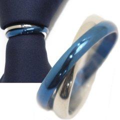 シルバー×ブルー・2連のタイリング (スカーフリング)