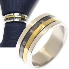 名入れ刻印サービス対象/ネクタイリング・ゴールド×ブラック・ナンバーのタイリング (スカーフリング)