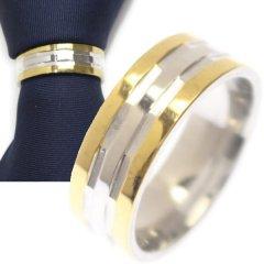 名入れ刻印サービス対象/ネクタイリング・ゴールド×シルバー・ストライプのタイリング (スカーフリング)