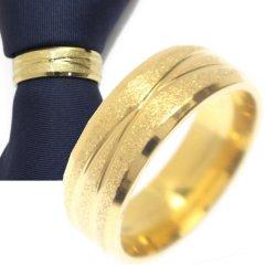 名入れ刻印サービス対象/ネクタイリング・ゴールドラメ・クロスラインのタイリング (スカーフリング)