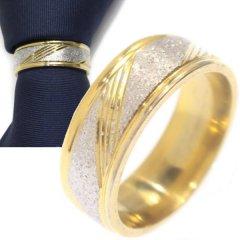 名入れ刻印サービス対象/ネクタイリング・シルバーラメ×ゴールド斜めラインのタイリング (スカーフリング)