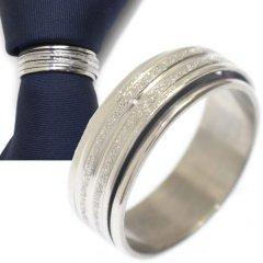 名入れ刻印サービス対象/ネクタイリング・シルバー・ラメラインのタイリング (スカーフリング)