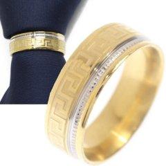 名入れ刻印サービス対象/ネクタイリング・マンジ柄×ゴールド・シルバーラインのタイリング (スカーフリング)