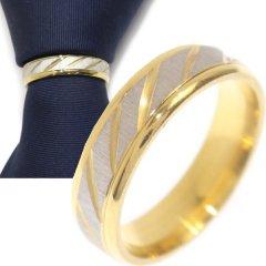 名入れ刻印サービス対象/ネクタイリング・ゴールドエッジ・レジメンタルライン・シルバーのタイリング (スカーフリング)