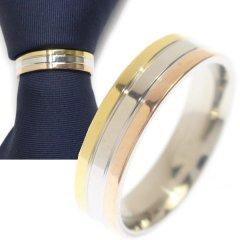 名入れ刻印サービス対象/ネクタイリング・ゴールド×シルバー×ピンクゴールドラインのタイリング (スカーフリング)