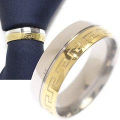 名入れ刻印サービス対象/ネクタイリング・ゴールド×マンジ柄・ツートーンのタイリング (スカーフリング)