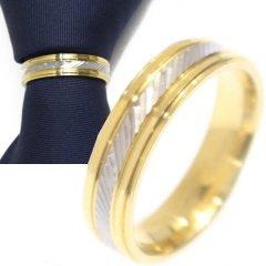 名入れ刻印サービス対象/ネクタイリング・ゴールド×シルバー・スラッシュデザインのタイリング (スカーフリング)