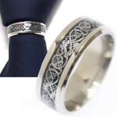 名入れ刻印サービス対象/ネクタイリング・シルバー×ブラック・ドラゴンデザインのタイリング (スカーフリング)