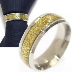 名入れ刻印サービス対象/ネクタイリング・シルバー×ゴールド・ドラゴンデザインのタイリング (スカーフリング)