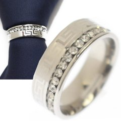 名入れ刻印サービス対象/ネクタイリング・マンジ柄×艶やかシルバー・ラインストーンのタイリング (スカーフリング)