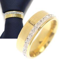 名入れ刻印サービス対象/ネクタイリング・マンジ柄×マットゴールド・ラインストーンのタイリング (スカーフリング)