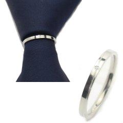 ネクタイリング・一粒ストーンとラインのタイリング (スカーフリング)
