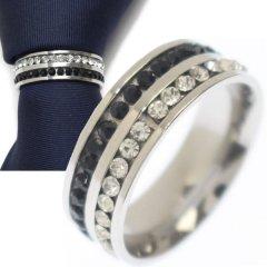 名入れ刻印サービス対象/ネクタイリング・ブラック×クリア・ダブルラインストーンのタイリング (スカーフリング)