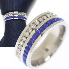 名入れ刻印サービス対象/ネクタイリング・ブルー×クリア・ダブルラインストーンのタイリング (スカーフリング)