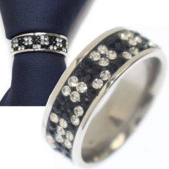 名入れ刻印サービス対象/ネクタイリング・ブラック×クリア・ブロックデザインのタイリング (スカーフリング)