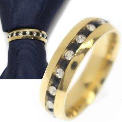 名入れ刻印サービス対象/ネクタイリング・クリア×ブラック・キラキラストーン・ゴールドのタイリング (スカーフリング)