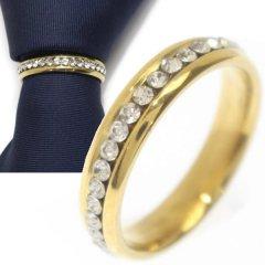 名入れ刻印サービス対象/ネクタイリング・ゴールド×クリアストーンのゴージャスなタイリング (スカーフリング)