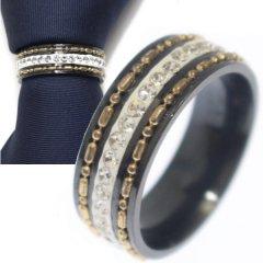 名入れ刻印サービス対象/ネクタイリング・ブラック×クリアストーン・スタッズラインのタイリング (スカーフリング)