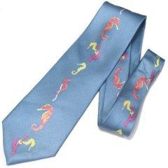 ブルー・タツノオトシゴのネクタイ