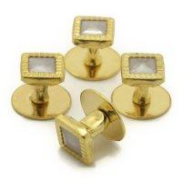 スタッドボタン ホワイト ゴールド スクウェア4個セット (スタッズボタン)