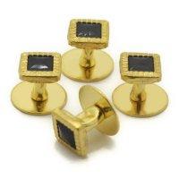 スタッドボタン ブラック ゴールド スクウェア4個セット (スタッズボタン)