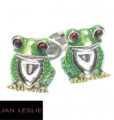 【JanLeslie】ちょこんとリアル・緑の蛙のカフス(カフリンクス/カフスボタン)