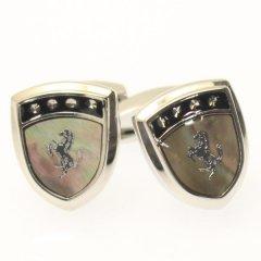 Selerisアワビ貝と銀の馬シールドデザインカフス(カフリンクス/カフスボタン)