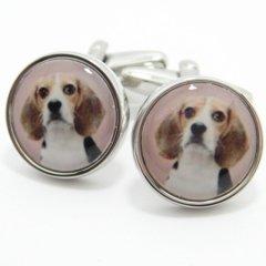 ビーグル犬の肖像画風カフス(カフリンクス/カフスボタン)