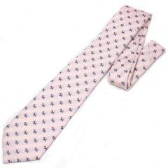全2色・レジメンタルストライプ・スコッチテリア犬×ドット・ピンクの西陣織ネクタイ