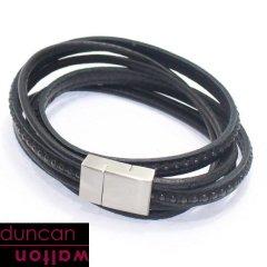 【Duncan Walton】CLUSTER・ブラック・2種類のレザーブレスレット(ブレスレット)