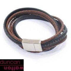 【Duncan Walton】CLUSTER・ブラック×ブラウン・2種類のレザーブレスレット(ブレスレット)