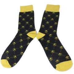 靴下・ユリの紋章・ブラックのメンズソックス