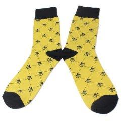靴下・ユリの紋章・イエローのメンズソックス