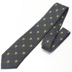 ユリの紋章・ブラック×イエローの小紋柄ネクタイ