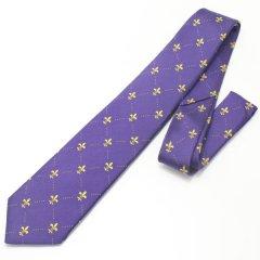 ユリの紋章・パープル×イエローの小紋柄ネクタイ