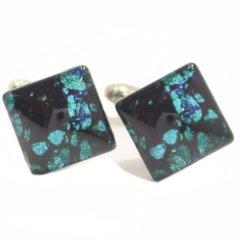 【ThaiVetro】ターコイズ・バタフライデザインのガラス製ダイヤカフス(カフスボタン/カフリンクス)