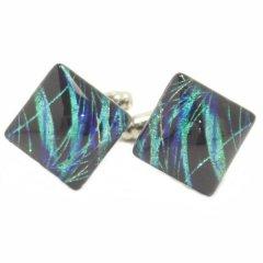 【ThaiVetro】ブラックライト・波デザイン・ブルーのガラス製ダイヤカフス(カフスボタン/カフリンクス)