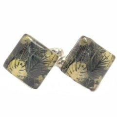 【ThaiVetro】ジャングル・リーフデザインのガラス製ダイヤカフス(カフスボタン/カフリンクス)