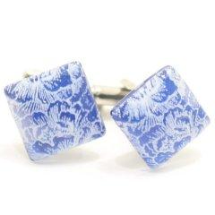 【ThaiVetro】ブルー×ホワイト・羽根デザインのガラス製ダイヤカフス(カフスボタン/カフリンクス)