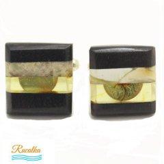 【Rucalkaルサルカ】琥珀アンバーと木のカフス4(カフリンクス/カフスボタン)