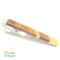 【Rucalkaルサルカ】琥珀アンバーと木のタイピン5(ネクタイピン)