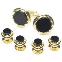 スタッドボタン オニキス ゴールド 4個+カフスボタンのセット(スタッズボタン)