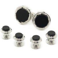 スタッドボタン オニキス シルバー 4個+カフスボタンのセット(スタッズボタン)