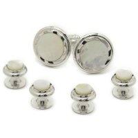 スタッドボタン 白蝶貝パール シルバー 4個+カフスボタンのセット(スタッズボタン)