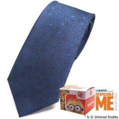 【Minionミニオン】淡いネイビー・ミニオンいっぱいのネクタイ